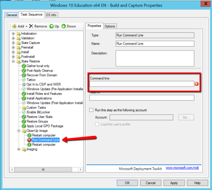 MDT 2013 Update 1 – Failed to copy Command line action