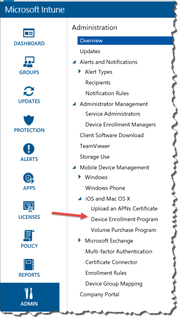 Intune console DEP.png