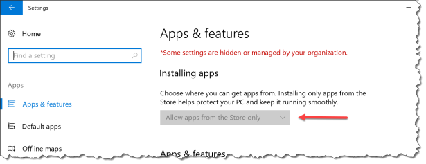 Preventing installation of apps from outside the Store in Windows 10