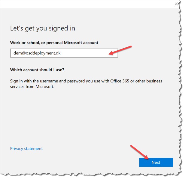 Where did the package user in Azure Active Directory come