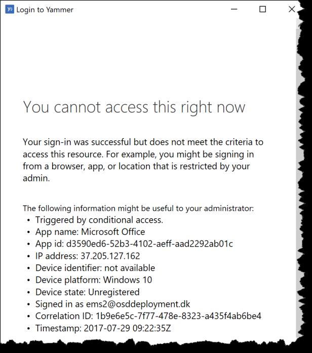 CA - Yammer Desktop APP - 03 - block Access