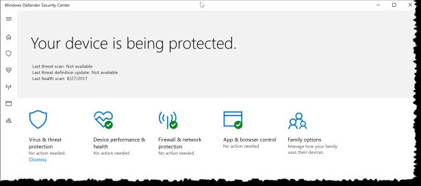 Windows 10 - Configure WindowsDefenderSecurityCenter - UX 00