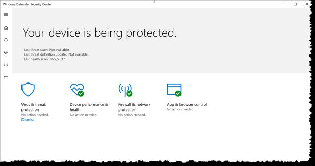 Windows 10 - Configure WindowsDefenderSecurityCenter - UX 01