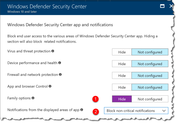 Windows 10 - Configure WindowsDefenderSecurityCenter - 23