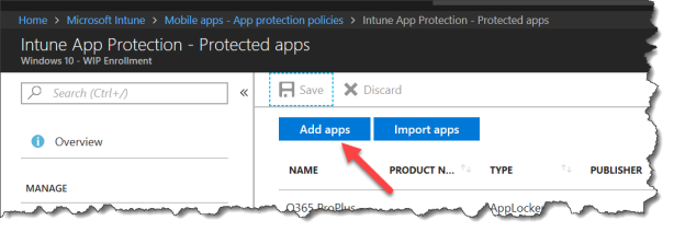 Intune Wip - Add new application - 00