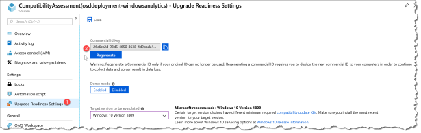 Windows Analytics CommercialID - UpgradeReadiness - 02