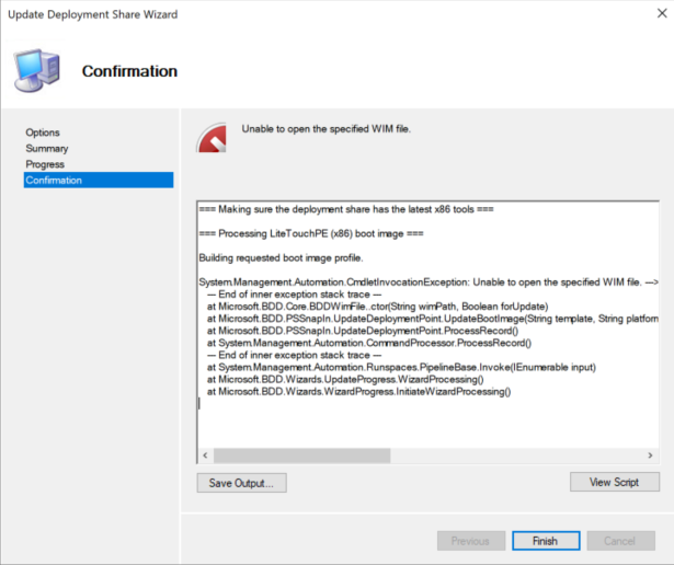 Unable to open the specified WIM file – error in MDT after upgrading