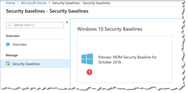 start using intune securitybaseline - 02