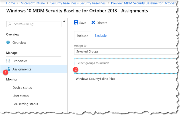 start using intune securitybaseline - 11