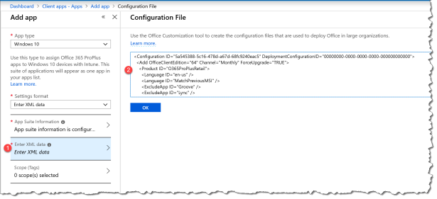 Deploy O365 - Custom xml with Intune - 04