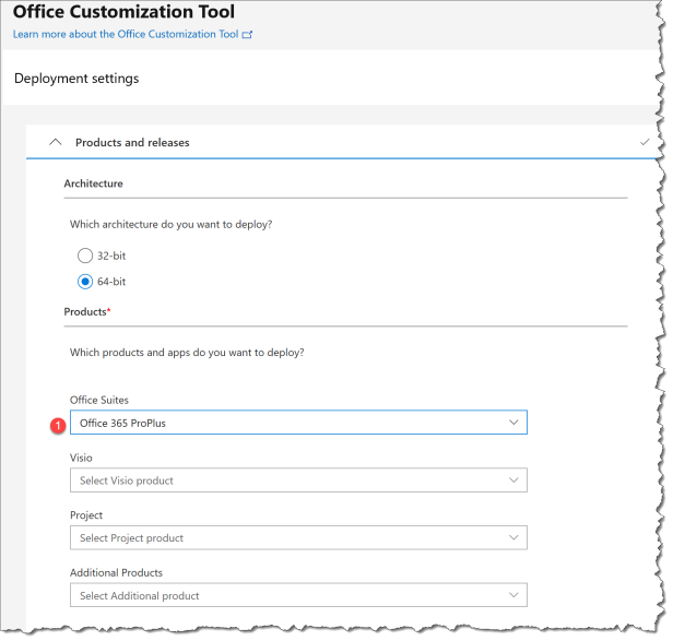 Deploy O365 - Office Customization Tool - 01