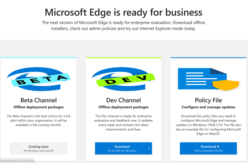 Deploy Microsoft Edge Dev for Business as a MSI with Intune