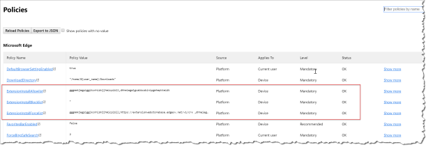 Mange Edge browser extensions with Intune - 19