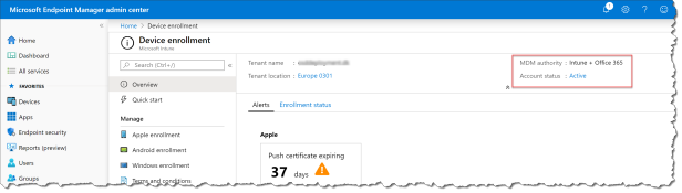Mobile Device Management authority in Microsoft Intune - 01